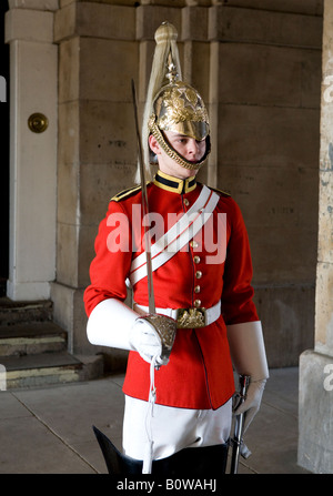 Soldier From The Queens Royal Houseguards Lifeguards Cavalry With Indian Woman Whitehall London UK Europe - Stock Photo