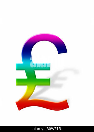 British Pound sign, symbol casting a shadow, graphic - Stock Photo