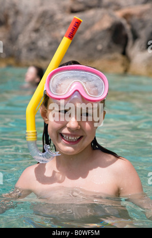 Little girl wearing diving goggles and snorkel, Croatia, Europe - Stock Photo