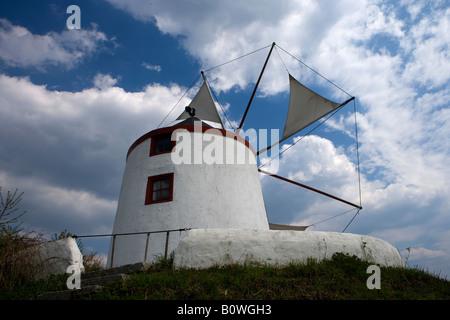 greece windmill from Mykonos Aegean sea Windmühle aus Mykonos Internationales Wind und Wassermühlenmuseum Gifhorn - Stock Photo