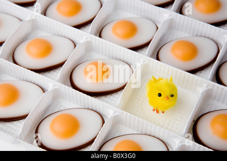 Sweet eggs and chick in a tray - Stock Photo