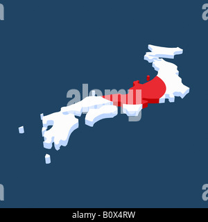 The Japanese flag in the shape of Japan - Stock Photo
