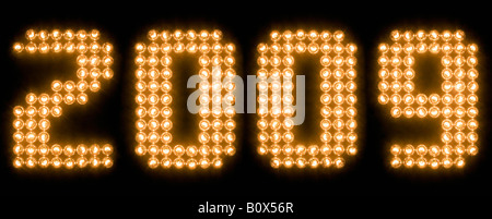 The year 2009 in illuminated light bulbs - Stock Photo