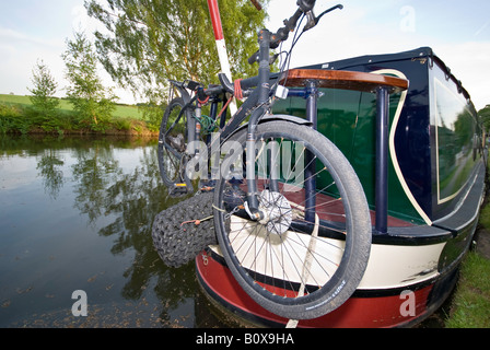 Moored barge on Bridgewater Canal - Stock Photo