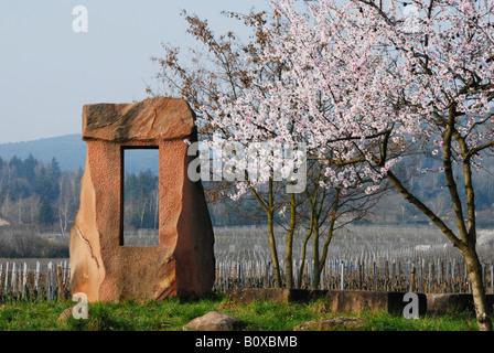 sculpture of sandstone near Bad Duerkheim at the German Wine Route, Germany, Rhineland-Palatinate, Palatinate, Bad - Stock Photo