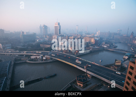 skyline and harbour of Shanghai, China, Shanghai - Stock Photo
