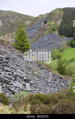 Welsh grey slate mining quarries Aberllefenni Machynlleth Powys Wales UK - Stock Photo