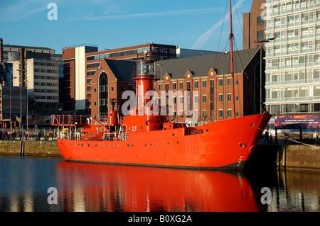 Lightship LV23 Planet berthed at Albert Dock Liverpool England - Stock Photo