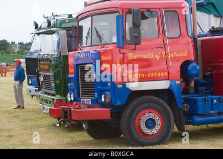 Old 1979 Scammell Crusader Recovery Vehicle with ERF E10 and Volvo Trucks at Smallwood Vintage Rally Cheshire England - Stock Photo