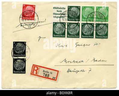 Germany Deutsches Reich Hindenburg stamps on Registered letter, postmarked Berlin, 1940. - Stock Photo