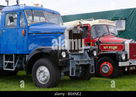 Scammell Junior Constuctor Wrecker and Highwayman Trucks at Smallwood Vintage Rally Cheshire England United Kingdom - Stock Photo