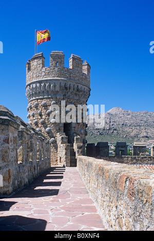 Castillo de Manzanares el Real  Royal Castle of Manzanares  Restored 15th century Castle - Stock Photo