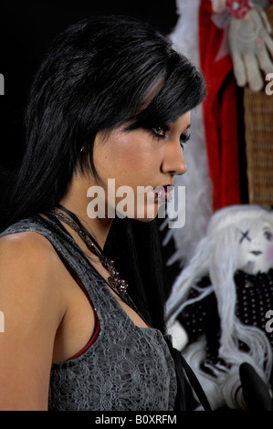Victorian Gothic Woman, beautiful raven haired gothic Vampire girl in a black and grey dress - Stock Photo