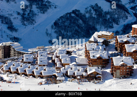 village in the ski resort Les Mnuires, France, Alps - Stock Photo
