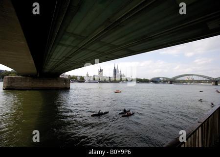 Germany, Cologne, Bridge over Rhein - Stock Photo