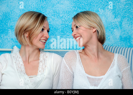 Two blonde women, portrait - Stock Photo