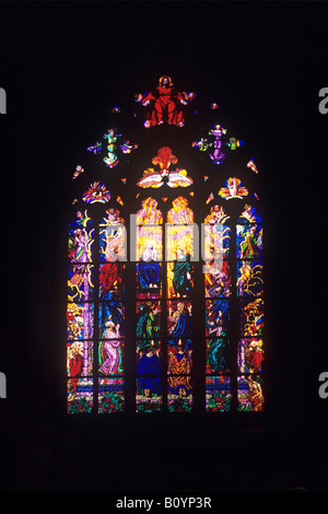 Stained glass window in St. Vitus´ Cathedral, Prague Castle, Prague, Czech Republic - Stock Photo