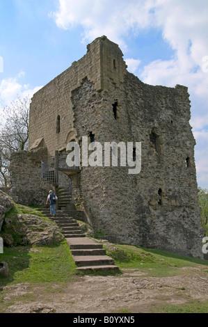 Peveril Castle Castleton Peak District Derbyshire England UK - Stock Photo