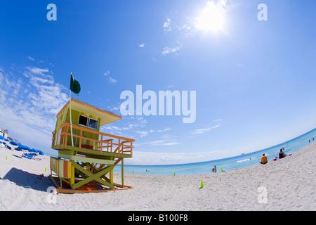 lifeguard tower, miami beach, south beach, miami, florida - Stock Photo