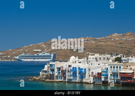 Little Venice Waterfront and the Star Princess Cruise Ship, Mykonos, Cyclades Islands, Greece - Stock Photo