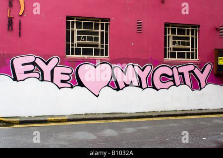 Writing on Dublin wall I love my city - Stock Photo
