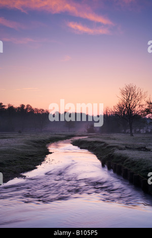Sunrise over Ober Water, near Rhinefield, New Forest National Park, Hampshire, UK - Stock Photo