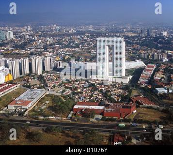 aerial above Pantalones Mexico City architect Teodoro Gonzales de Leon - Stock Photo