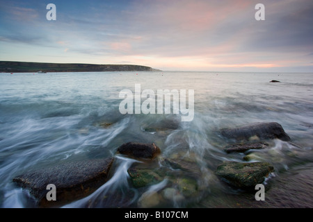 Dawn over Swanage Bay - Stock Photo