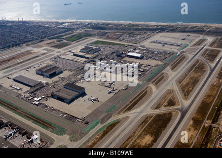 aerial above Los Angeles International airport LAX - Stock Photo