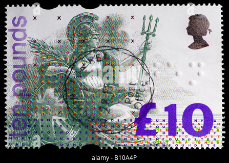 Used 1993 Great Britain £10 Britannia 'high value' stamp - first British stamp with embossed Braille markings. - Stock Photo