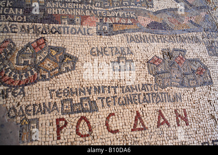 Mosaic map of Holy Land (560), St. George greek Orthodox church, Madaba, Jordan - Stock Photo