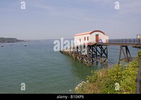 Old Lifeboat station, Tenby, Pembrokeshire national Park Coast Horizontal 84313_Tenby Lifeboat. Blue sea - Stock Photo