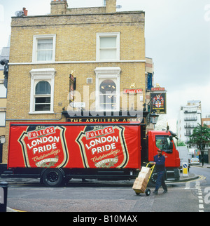 A London Pride Ale delivery truck parked outside the Artillery Arms pub Dufferin Street London England UK  KATHY - Stock Photo
