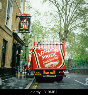 Fullers London Pride lorry delivering beer barrels to the Artillery Arms pub near Bunhill Fields central London - Stock Photo