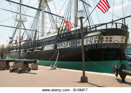 USS Constellation last sail warship of the US Navy moored on the harbourside in the Inner Harbour, harbor Baltimore - Stock Photo