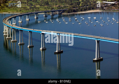 aerial above Coronado bridge San Diego California - Stock Photo
