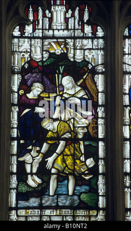 St Christopher depicted in stained glass window.  19th century. England - Stock Photo
