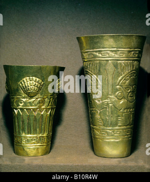 Gold beakers Chimu 11th 15th c AD Peru  Copyright: AAA Collection Ltd - Stock Photo
