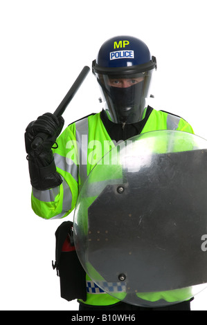 A metropolitan police officer in full riot gear - Stock Photo