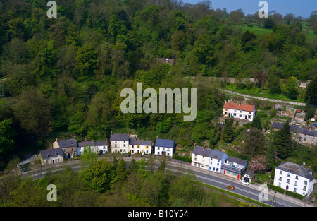 View of Artists Corner on the A6 in Matlock Bath Derbyshire Peak District England UK photographed from Pic Tor summit - Stock Photo