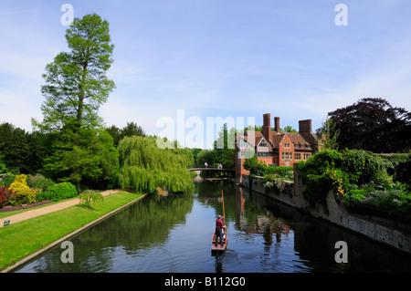 Tourists Punting along The Backs Cambridge England UK - Stock Photo