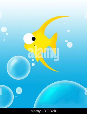 Illustration of fish and bubbles - Stock Photo
