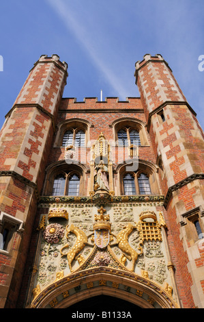 Entrance to St Johns College Cambridge England UK - Stock Photo
