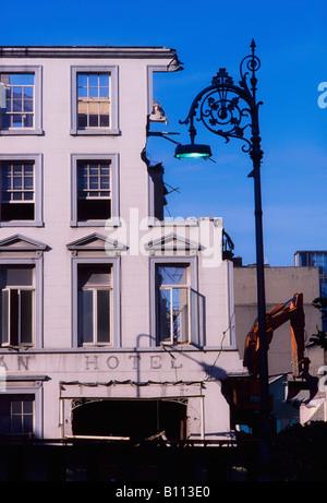 Historic Dublin, Demolition of Hibernian Hotel, 1991, Ireland - Stock Photo