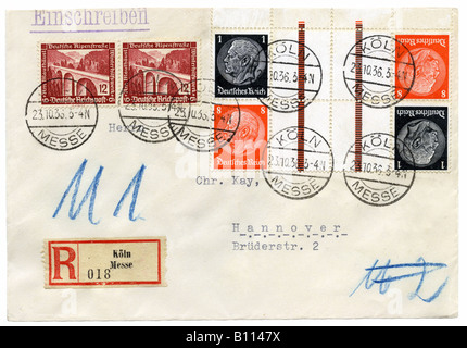 Germany Deutsches Reich Hindenburg stamps on Registered letter, postmarked Koln Messe (Exhibition Centre), 1936. - Stock Photo