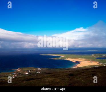 Achill Island, Co Mayo, Blacksod Bay  & Ridge Point from above Doogort Village, Ireland - Stock Photo