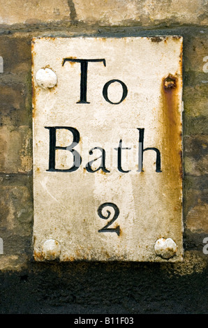 Batheaston Bath BaNES England UK An old antique mile sign indicating distance to Bath - Stock Photo