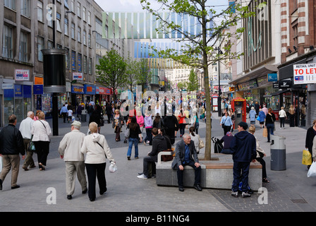 Shoppers in Church Street Liverpool city centre - Stock Photo