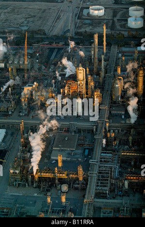 aerial above Torrance CA refinery at sunset - Stock Photo