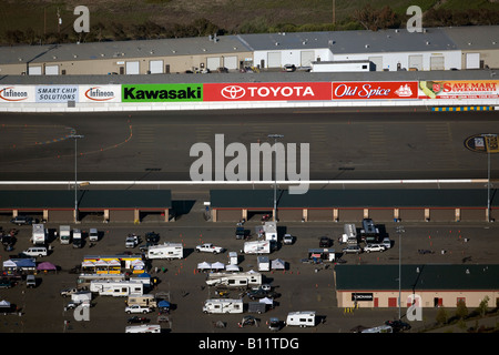 aerial view above Infineon Raceway track advertising banners Sonoma California - Stock Photo